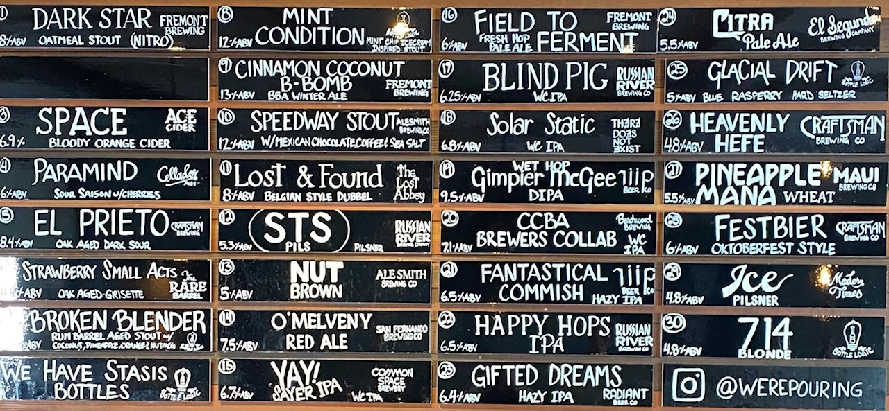 Were Pouring Craft Beer Taplist Glendale - 10-12-21
